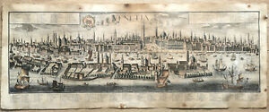 F.B. WERNER w J.F. PROBST & J. WOLFF Antique Engraving Panoramic View of Venetia