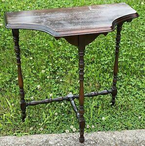 "1950 Bogalusa Louisiana Antique 25"" Scroll Hallway Mahogany Wood Console Table"
