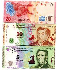 ARGENTINA 5 10 20 PESOS ND(2015-2017) P-359+NEW UNC SET 3 PCS