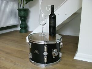 """Funky Original Glass Topped Drum Side Table by """"Cymbolic Tables"""" Vintage, Retro"""