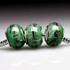 5pcs Murano Glass European Spacer Beads Lampwork Fit Bracelet Chain LB0086 FB