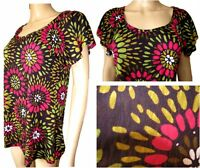 Ex Per Una Ladies Multi Colour Floral Jersey Short Sleeve Casual Top Size 10 -14