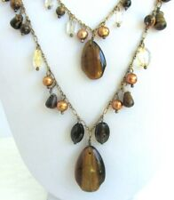 COLDWATER CREEK DOUBLE STRAND TIGERS EYE NECKLACE