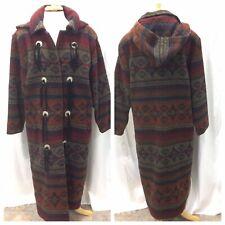 Woolrich Duster Blanket Coat Southwest Aztec Wool Browns Hooded Womans M Vtg USA