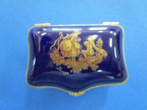 French Limoges Castel Hindged  Cobalt Blue & Gold Floral Porcelain Trinket Box