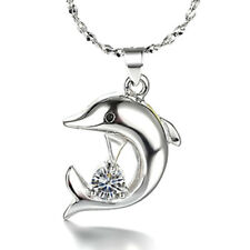 925 Sterling Silver Dolphin Pendant Necklace For Women Fashion Jewelry