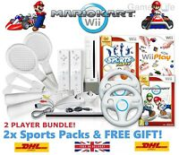 Wii Console MARIO KART > 2 Player Bundle, 2 Remotes Sports Packs 19 GAMES + GIFT