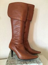 MODA IN PELLE TAN BROWN LEATHER KNEE HIGH BOOTS Size 5