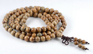 "8mm 108PCS Natural Green Sandalwood Verawood Mala Meditation Beads Round 33"""