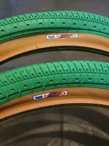 NOS BMX GREEN HARO MULTISURFACE FREESTYLE TIRES PAIR 80's OLD SCHOOL 20 X 2.00