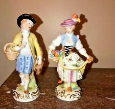 19th Century Lady & Gent Hand Painted Elaborate Dresden Figurines