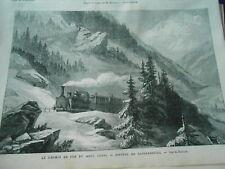 Gravure 1869 - Chemin de Fer Mont Cenis Montée de Lanslebourg