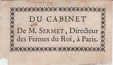 EX-LIBRIS 18e Charles SERMET de REVIGUET, Directeur des Fermes du Roi, à Paris §