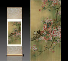 Chinese Silk Scroll Painting Peach Blossom Birds Home Office Decoration(桃花小鸟图)