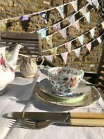 CLEARANCE Fabric Bunting  heart garland pink vintage floral Sale 40ft 80ft 120ft