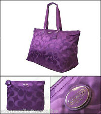 NWOT Coach XL Overnight Packable Weekend Nylon Tote Travel Duffel 77316 Amethyst