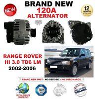 Para Land Rover Range Rover III 3.0 TD6 Lm 2002-2006 Nuevo 120A Alternador