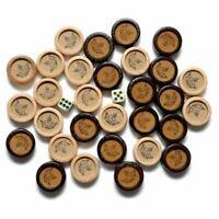 30 Handarbeit HOLZ Backgammon Ersatz Steine Weiße & Dunkel Antik 27mm + 2 Würfel
