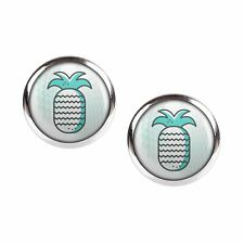 Mylery Studs Pair with Motif Pineapple Turquoise Opal Honeycomb Silver Size
