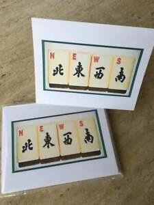 "MAHJONG Note Cards Blank Inside 12 Pk ""NEWS"""