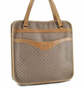 Authentic GUCCI Micro GG PVC Leather Shoulder Tote Bag Brown E1545