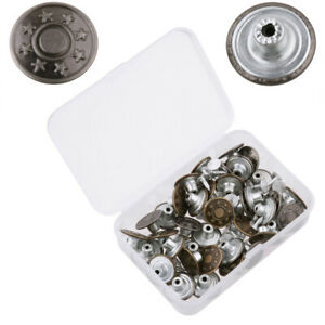 40X Metal Tack Buttons For Suspender Jeans Trousers Replacement with Rivets&Box