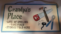 GRANDPA'S PLACE  fix toys, spoiling, stories Grandfather gift grandpa wood sign