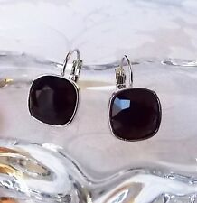 Jet Black Leverback Drop Earrings made with Cushion Cut Swarovski Crystal