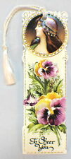 Victorian Paper Bookmark String Tassel Gypsy Girl & Pansy Flowers