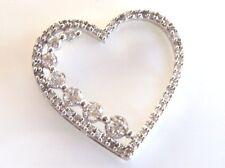 .89ctw Diamond Open Heart Pendant 14K White Gold 1.5grams