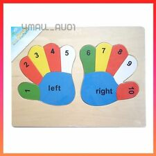 Kids Girls Boys Educational Wooden Puzzle Jigsaw Toy Gift Hands Left and Right