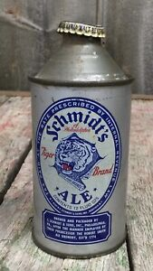 Early Vintage SCHMIDTS Tiger Brand Ale Beer Cone Top 12oz Can Brew Excellent PA