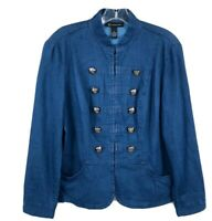 Inc International Concepts Military Jacket Womens M Blue Crest Button Casual