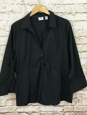 Lee Riders shirt blouse 2X black vneck hidden button front 3/4 slv L4