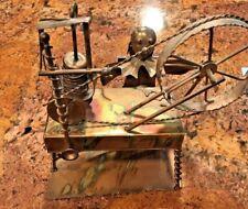 Vintage Brass Music Box Yip Hong Kong Spinning Wheel