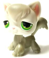 Lps Littlest Pet Shop Toy Cat Kitty 20 Angora Green Dot Eyes Long Hair
