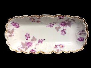 Beautiful Antique A K Limoge Purple Roses Bread Tray