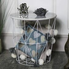 Wood marble effect wire basket side occastional table storage solution furniture