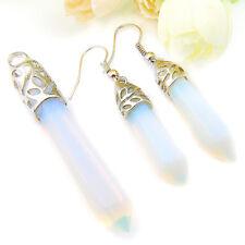 Hexagon Style Jewelry 2 PCS Rainbow Moonstone Gems Silver Pendant Earrings Set