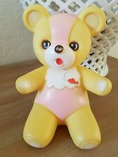 Vintage THE FIRST YEARS Rubber Squeak toy Pink Baby Bear Squeaky Collectible