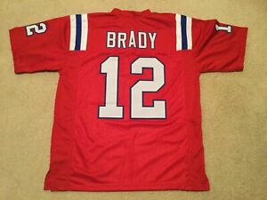 Tom Brady UNSIGNED CUSTOM Sewn Stitched Pats Red Jersey - M, L, XL, 2XL