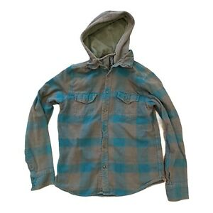 Fox Racing Flannel Plaid Button Down Hooded Flannel Men's Large