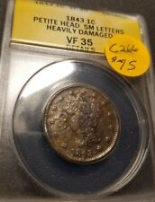 1843 Certified Braided Hair Large Cent, VF35, C266