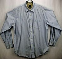 Timberland Men's Shirt L L/S Light Blue/Gray/Beige Stripes Cotton