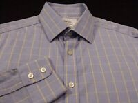 Charles Tyrwhitt Mens sz 15.5 Slim Long Sleeve Button-Front Blue Plaid Shirt