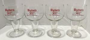 Lot of 4 Vtg Walter's Pilsener Beer Eau Claire WI Glass Goblet Chalice