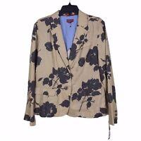 NWT Merona Women's Tan Brown Floral Linen Button Front Jacket Blazer Size L