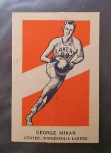 GEORGE MIKAN 1952 WHEATIES ACTION HAND CUT WRITING ON BACK