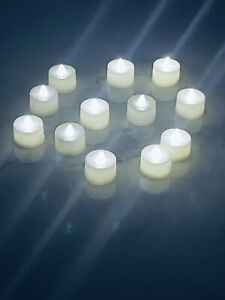 White Tea Light - 12 Pack - Battery operated Tealight Candles no Flame Set of