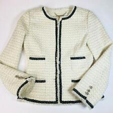 White House Black Market Tweed Blazer Size 6 White Eye Hook Long Sleeve Fringe